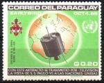 de America - Paraguay -  VISITA  DE  S. S. PABLO  VI  A  LA  O.N.U.  SATÊLITE  DE  TRANSMISIÓN, GLOBO  Y  ESCUDO  PAPAL.