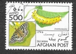 Sellos de Asia - Afganistán -  1724 - Gusano de Seda - Mariposa