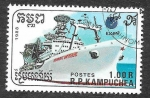 Sellos de Asia - Camboya -  863 - Barco de Comunicaciones