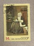 Stamps Russia -  Mujer en el trabajo por Gabriel Metsu