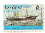 Stamps America - Dominica -  Barcos de la historia Dominicana. Barco Tamesis