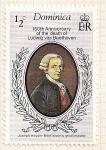Stamps Dominica -  150 Aniv. de la muerte de Ludwig van Beethoven. Joseph Haydn.