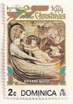 Sellos de America - Dominica -  Navidad 1974. Virgen y niño por Lorenzo Costa.