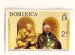 Stamps Dominica -  Cent. del nacimiento de Sir Winston Churchill. Churchill con Franklin D. Roosvelt.