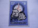 Stamps : Europe : Russia :  URSS-Unión Soviética - Soyuz-24 - Vuelo Especial- Logros espaciales-Astronautas Rusos.