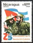 Sellos del Mundo : America : Nicaragua :  25th  ANIVERSARIO  DE  LA  REVOLUCIÓN  CUBANA.  FIDEL  CASTRO,  CHE  GUEVARA  Y  BANDERA  DE  CUBA.