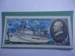 """Stamps : Europe : Russia :  URSS-Unión Soviética-Buque """"Akademik  Sergei Korolev"""" - Flota Científica de asenso de la URSS."""