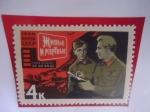 """Stamps : Europe : Russia :  URSS-Unión Soviética - Escena de """"Los Vivos y los Muertos"""" (A. Stolper 1964) - Arte Cinematográfico"""