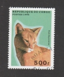 Stamps Republic of the Congo -  Red Abyssinian
