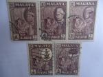 Stamps : Asia : Malaysia :  sellos de Malacia 1957.