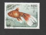 Stamps Cambodia -  Carassius aurantus
