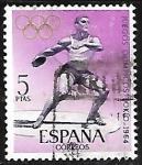 Stamps Europe - Spain -  Juegos Olimpicos -Tokio 1964 - Lanzamiento de Disco