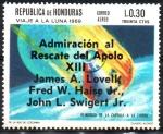 Sellos de America - Honduras -  SOBREIMPRESIÓN.  RESCATE  DEL  APOLO  XIII.  REINGRESO  DE  LA  CÁPSULA  LUNAR  A  LA  TIERRA.