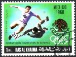 Stamps Asia - United Arab Emirates -  COOPERACIÓN  INTERNACIONAL  EN  LAS  OLIMPÍADAS.  MÉXICO  1968.