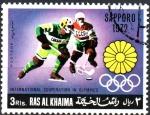 Stamps Asia - United Arab Emirates -  COOPERACIÓN  INTERNACIONAL  EN  LAS  OLIMPÍADAS.  SAPPORO  1972.
