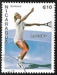 sello : America : Nicaragua : Martina Navratilova