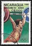 Sellos del Mundo : America : Nicaragua : Juegos Olímpicos de Verano - Barcelona'92 -Levantamiento de Pesas