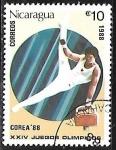 Sellos del Mundo : America : Nicaragua : Juegos Olímpicos de Seul 1988 - Gimnástica