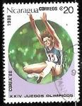 Sellos del Mundo : America : Nicaragua : Juegos Olímpicos de Seul 1988 -Salto de Longitud