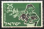 Stamps : Asia : Israel :  20th  ANIVERSARIO  DE  LA  JUVENTUD  IMMIGRANTE. JÓVEN  CARGANDO  BECERRO.