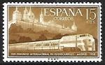 Sellos de Europa - España -  Congreso Internacional de trenes - Monasterios