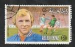 sello : Asia : Emiratos_Árabes_Unidos : Ras al Khaima - Bobby Moore, futbolista inglés