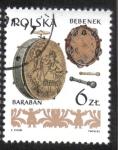 Sellos del Mundo : Europa : Polonia : Instrumentos musicales, polaco (1), tambor, pandereta
