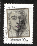 Sellos del Mundo : Europa : Polonia : Pinturas de S. I. Witkiewicz, Autorretrato, 1931, de S. I. Witkiewicz