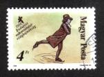 Sellos del Mundo : Europa : Hungría : Campeonatos mundiales de patinaje artístico, pintura de patinador artístico.