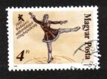 Sellos del Mundo : Europa : Hungría : Campeonatos mundiales de patinaje artístico, pintura de patinadora artística.