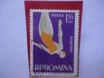 Sellos del Mundo : Europa : Rumania : Sarituri- Salto del Trampolín - Deporte de Natación.