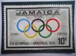 Sellos del Mundo : America : Jamaica : XXI Olympiad-Montreal 1976- Anillos Olimpicos- Juegos de Verano.