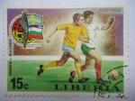 Sellos del Mundo : Africa : Liberia : Suecia vs Bulgaria -Emblema Club de Fútbol Mundial - Munich 1974