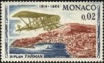 Sellos de Europa - Mónaco -  50 años del primer rally aéreo Monte Carlo. Biplano FARMAN.