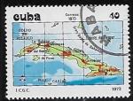 Stamps : America : Cuba :  Mapa de Cuba