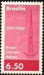 Sellos de America - Brasil -  Inauguración de Brasilia. Torre de TV.