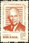 Sellos de America - Brasil -  Visita a Brasil del presidente de EEUU, D. EISENHOWER