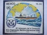 de America - México -  25° Aniversario de la Convención de la Organización Maritima Internacional (OMI)- Emblema- Acuarela