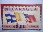 de America - Nicaragua -  Visita del Cardenal Francis  a SpellmanNicaragua - 3 Banderas.