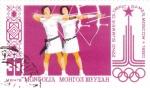 Stamps Mongolia -  TIRO CON ARCO- MOSCÚ'80