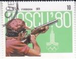 Sellos de America - Cuba -  TIRO CON CARABINA-MOSCÚ'80