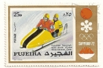Stamps United Arab Emirates -  Fujeira. JJOO Sapporo 72. Medalla de oro bobsleigh a dos. Alemania.