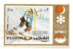 Sellos de Asia - Emiratos Árabes Unidos -  Fujeira. JJOO Sapporo 72. Medalla de oro  Slalom gigante. Italia.  Arturo Thoeni.
