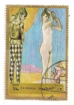 Stamps : Asia : United_Arab_Emirates :  Fujeira. Pintura de P.Picasso. Familia de Arlequin. 1905