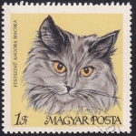 Stamps : Europe : Hungary :  gato persa color gris