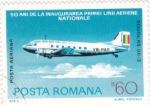 Stamps : Europe : Romania :  50 ANIV.INAUGURACIÓN PRIMERA LINEA AÉREA NACIONAL