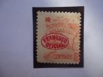 Sellos de America - Nicaragua -  Unión Postal-Mapa del Pais con la Imprenta 1896 - Sello Sobrestampación_Franqueo Oficial
