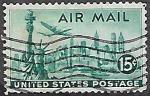 Sellos de America - Estados Unidos -  Estatua de la Libertad y avión Lockheed Constellation
