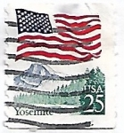 Sellos de America - Estados Unidos -  Bandera sobre el Parque Nacional de Yosemite