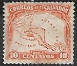 Sellos del Mundo : America : El_Salvador : Ubicación geográfica de la República de El Salvador